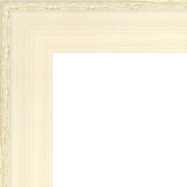 Cadre Caisse-Américaine blanc cérusé patiné argenté