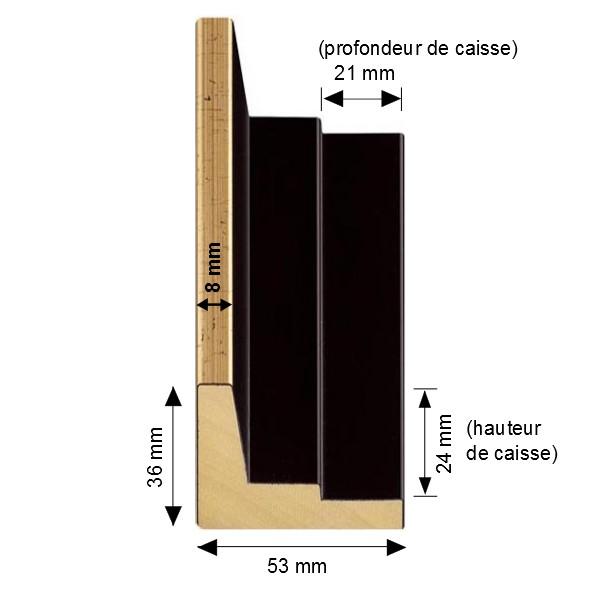 Cadre Caisse-Américaine escalier noir mat avec filet supérieur doré