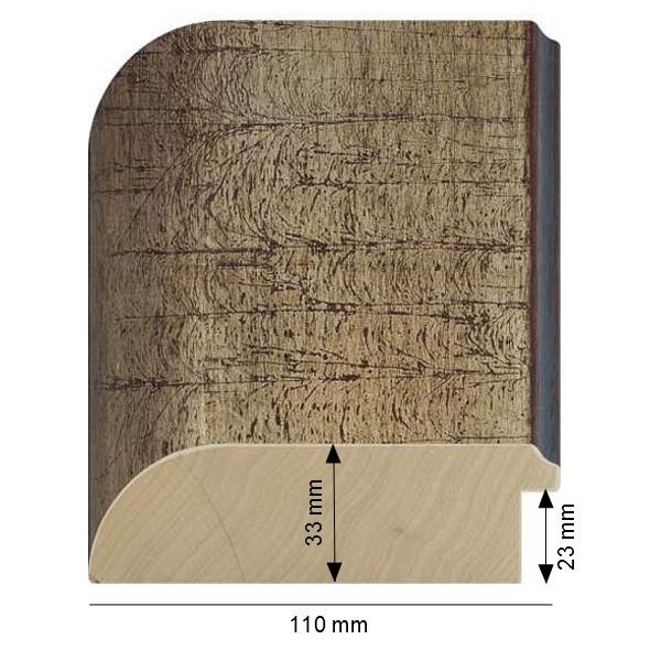 Cadre Arrondi Dorure à la feuille de cuivre argentée et patiné à l'ancienne