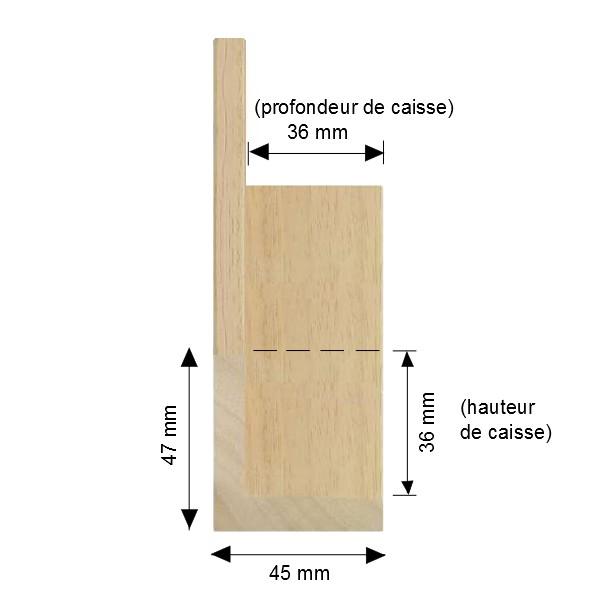 Cadre Caisse-Américaine bois brut et naturel