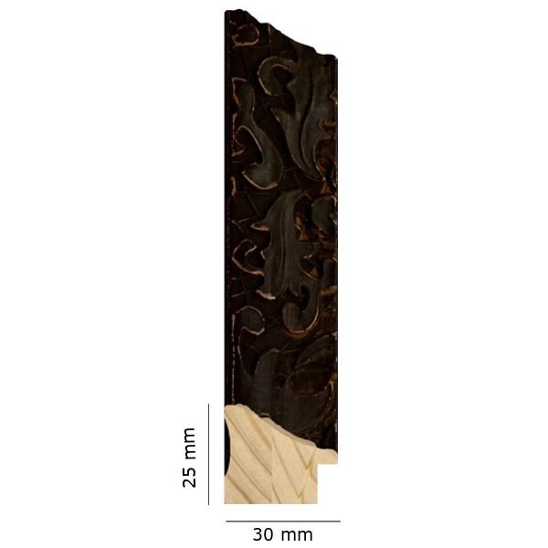 Cadre Feuille de chêne noir patiné