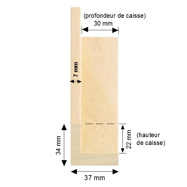 Cadre Caisse-Américaine bois brut naturel