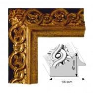 Cadre Artisanat Vicomtesse fond noir et décoration doré patiné à la feuille