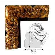 Cadre Artisanat Templum fond noir et décoration doré patiné à la feuille
