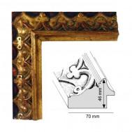Cadre Artisanat Médiéval fond noir et décoration doré patiné à la feuille
