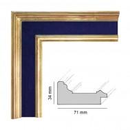 Cadre Artisanat Napoléon plat bleu royal et doré patiné à la feuille